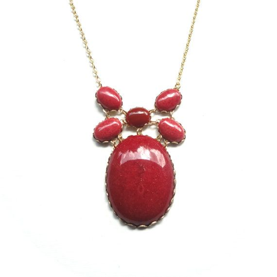 Red Bubble Necklace - Deep Red Jade Focal Necklace by Jessica Kime on Etsy - ASimpleKindOfFancy