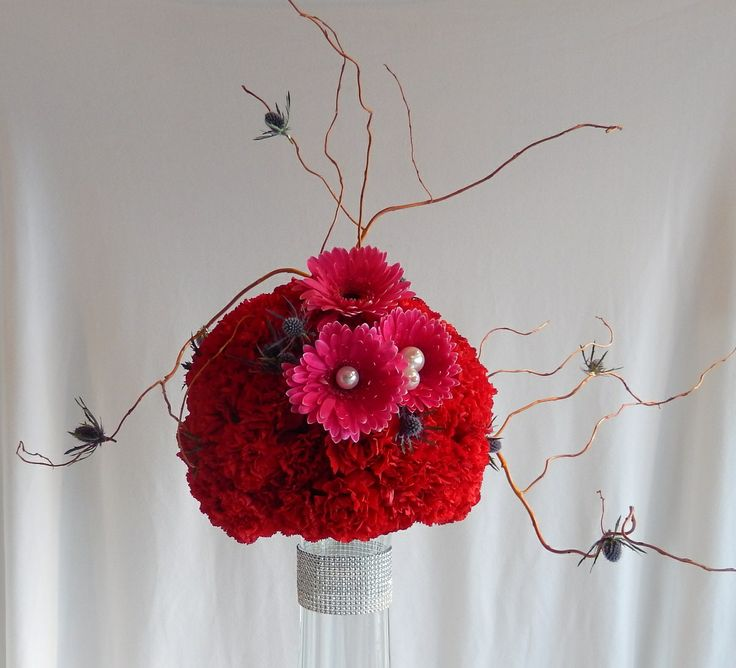 Hot pink gerberas on the other side of previous arrangement from Dizennio Floral Boutique-Vaughan.
