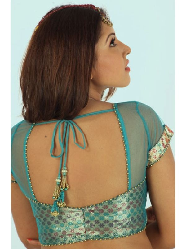 Sky-Blue-Brocade-V-Neck-net-designer-blouse