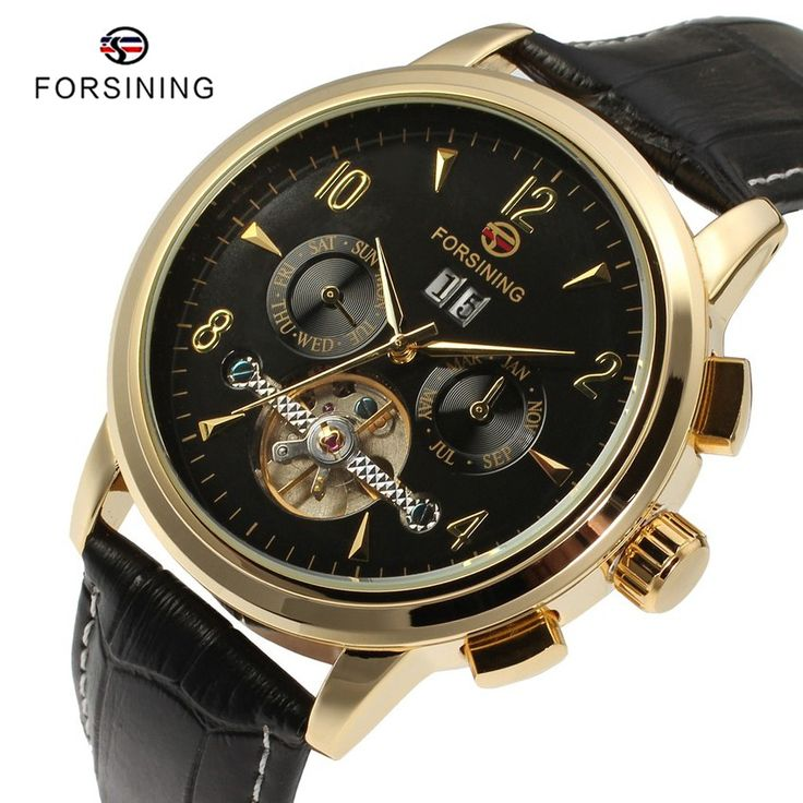 Find More Mechanical Watches Information about 3 Colors FORSINING Luxury Men Gold Tourbillon Watches with Calendar Leather Band Mens Automatic Mechanical Watch montre homme,High Quality watch repair,China watch tool Suppliers, Cheap tourbillon watch from YIKOO Watches Store on Aliexpress.com