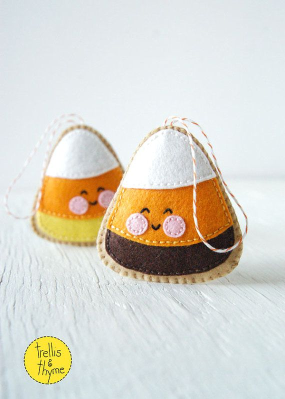 What could be cuter than a happy cheery little candy corn? This darling felt cookie is stitched entirely by hand, and is the perfect pattern for