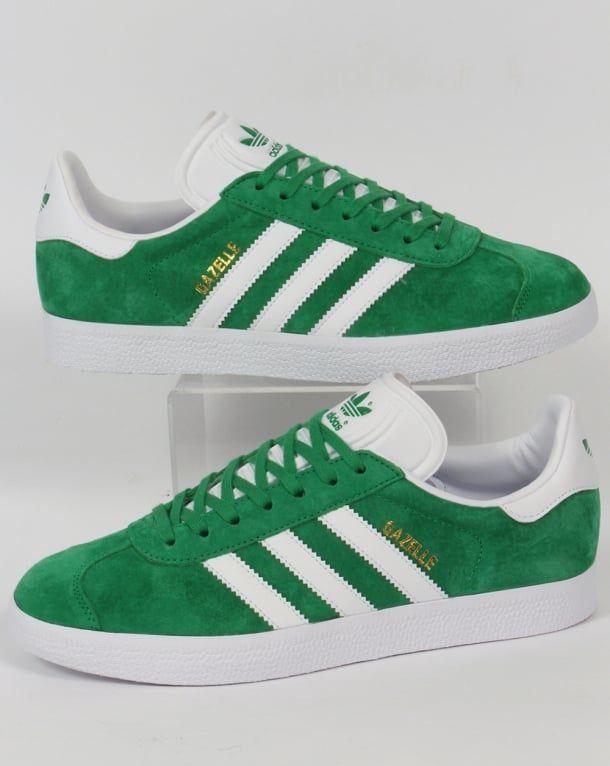 wholesale dealer e6c1d 4eaa1 Adidas Gazelle Trainers Green White,originals,shoes,mens,sneakers