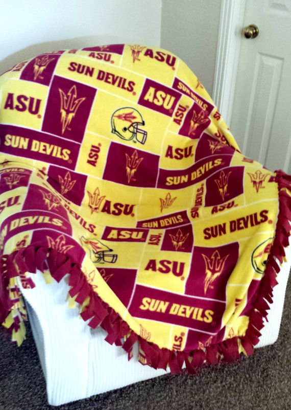 PAC 12 - NCAA Arizona State University Block Blanket - Custommade Fleece Blanket - Choice of NoSew or MachineSewn - by Rolani's Wonderland #rolaniswonderland #handmade #etsy
