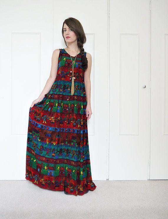 90s grunge dress tribal maxi dress rayon dress flowy by bohokimono