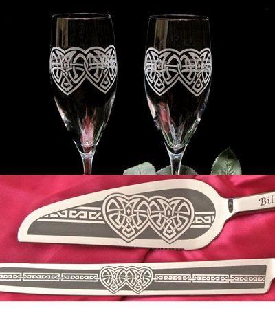 Celtic Wedding Cake Server & Champagne Flutes, Celtic Knot Heart for Irish, Celtic Weddings  Available at:  www.BradGoodellWeddings.com