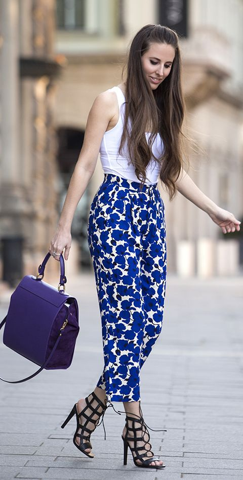 Spring Printed Pants Outfit Idea