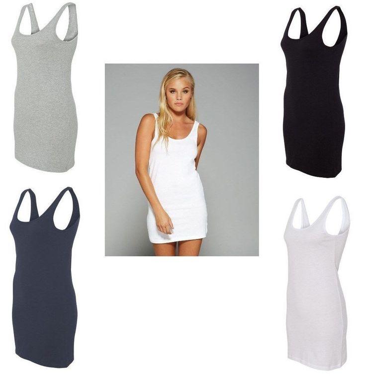 Peaches Pick Bella Ladies S-L Xl Xl Jersey Tank Cotton T Shirt Dress 6012