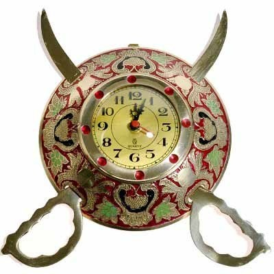 Rajasthani Real Brass Sword Armour Wall Clock-107#Rajasthani Real Brass Sword Armour Wall Clock