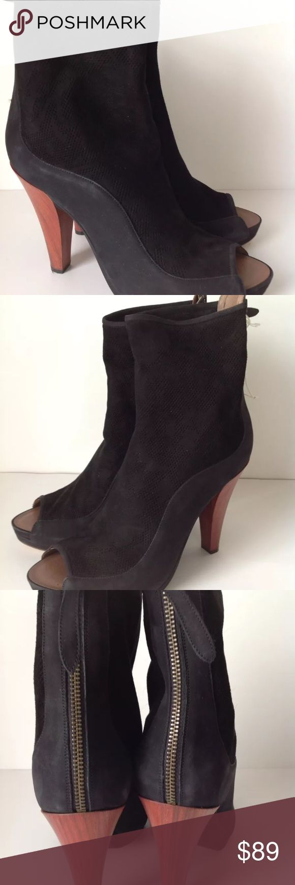 """UGG Australia Anatea Black Suede Heels Sz 9.5 UGG Italian collection. Two dust bags included. New without box. Heel zip closure Stacked wood heel approx. 4"""" UGG Shoes Heels"""