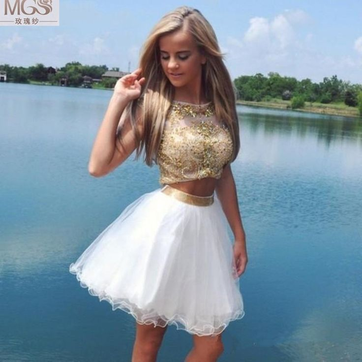 Two Piece Prom Dress,Short Prom Dress,Beading Homecoming Dress,Evening