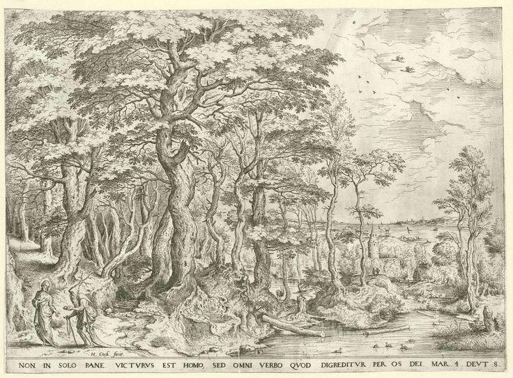 Hieronymus Cock | Landschap met de verzoeking van Christus, Hieronymus Cock, Pieter Brueghel (I), c. 1554 - c. 1556 | Boslandschap met in de verte een havenstad en de zee. Links verleidt de duivel Christus door hem te vragen om van stenen brood te maken. De duivel draagt een muts waaruit wortels groeien. Hij houdt twee stenen in zijn hand en loopt met een stok. Onder de voorstelling een Latijns bijbelvers uit Matteüs 4:4.