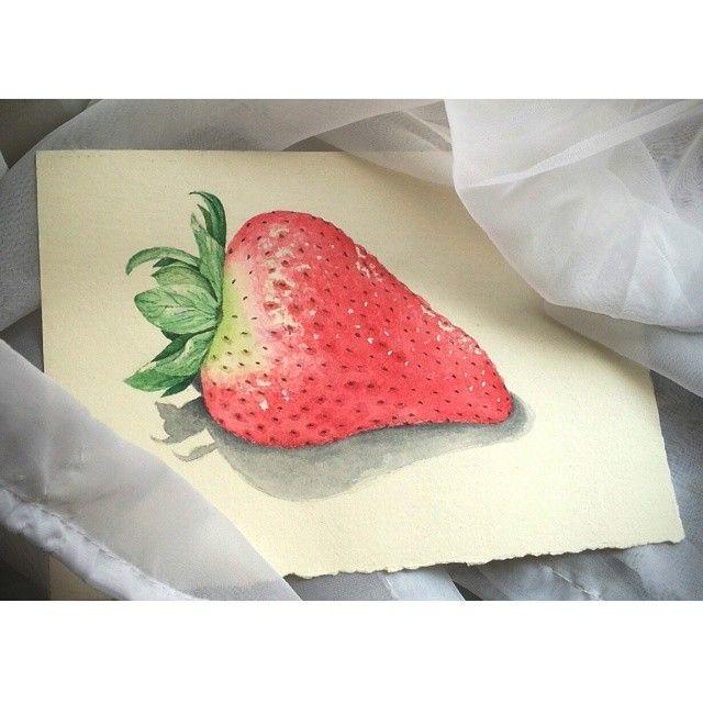 #aguarela #fixaroinstante #watercolour #art #draw #drawing #p3top #morango #strawberry