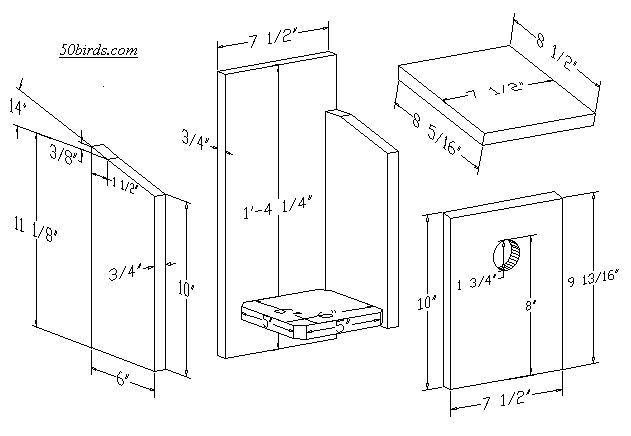 Nestbox Plans and Dimensions for Great-crested Flycatchers
