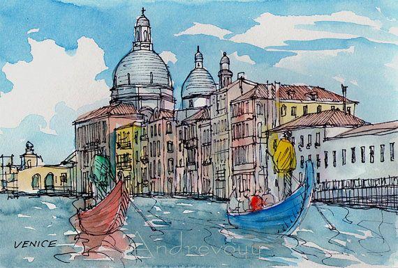 Canale Grande Venedig Italien Kunstdruck aus einer original Aquarell