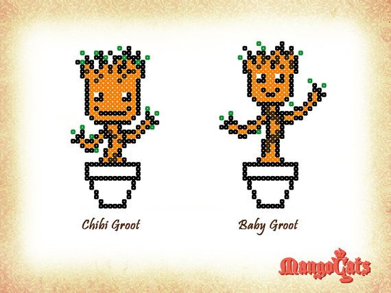 Dancing Baby Groot from Guardians of the Galaxy cross-stitch