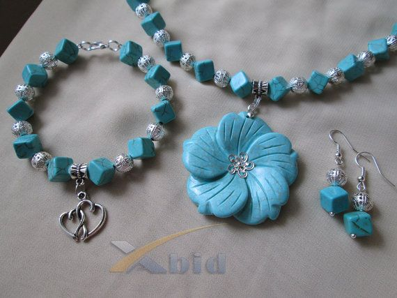 Turquoise jewelry set. Unique handmade turquoise necklace with pendant, bracelet and earrings