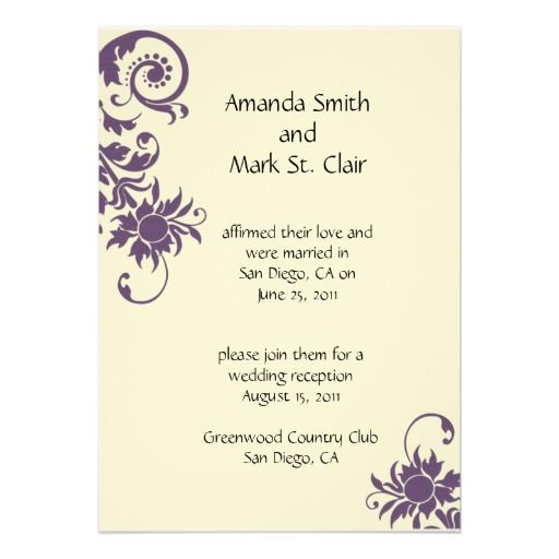Reception Following Ceremony Wording: Wedding Invitation For Someone Already Married