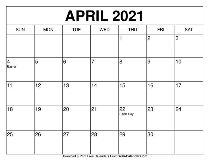 April 2021 Calendar | Free calendars to print, Calendar ...