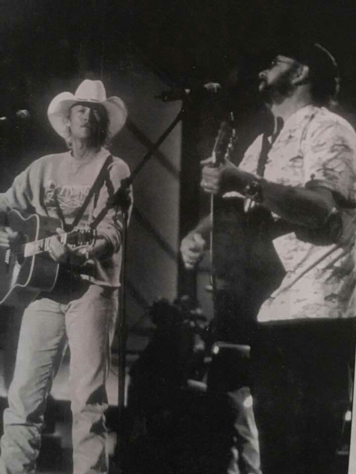 """Alan Jackson & Hank Jr performing """"The Blues Man"""" for ACM rehearsals in 2000."""