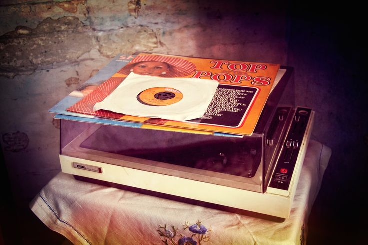 Old Record Player and Vinyl Records