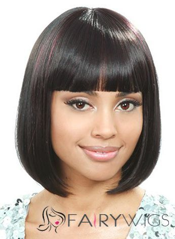 Stylish Short Straight Black Full Bang African American Wigs for Women 12 Inch