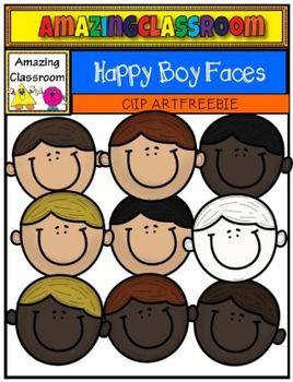 (FREE) Happy Boy Faces Clip Art