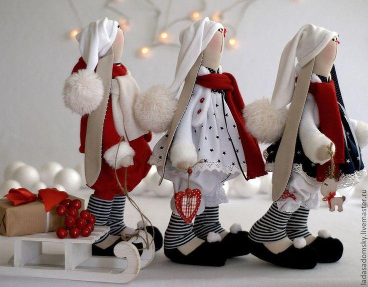 Купить Зайка Dan - рождественский эльф, 39 см - ярко-красный, новогодний подарок