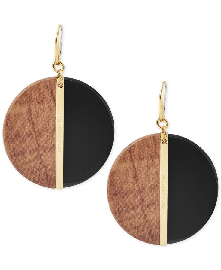 """Colorblock goes elegant with warm rich wooden hues and gleaming black acetate in these stunning drop earrings designed by Michael Kors in gold-tone mixed metal. Approximate drop: 1-1/2"""". 