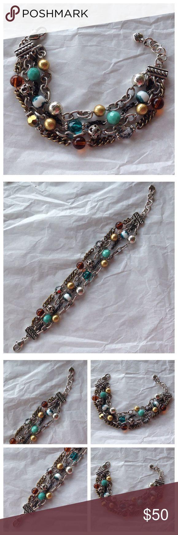 "Gorgeous Brighton 4 Strand Beaded Bracelet Brighton. Beautiful 4 strand Beaded bracelet. 9"" with extension. Absolutely gorgeous bracelet that goes with about anything!! Excellent condition! Brighton Jewelry Bracelets"