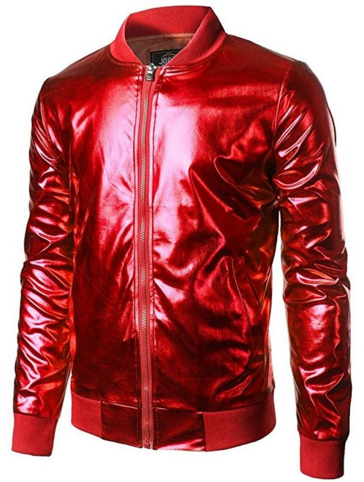 Mens Metallic Nightclub Styles Zip Up Varsity Baseball Bomber Jacket