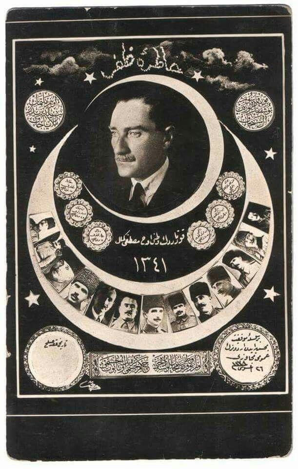 """1924 – Kurtuluş Savaşı'nı anmak için basılan kartpostallardan biri; """"Hatıra-i Zafer"""" Mustafa Kemal Atatürk ve silah arkadaşları."""