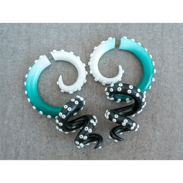 Octopus Gauges, Fake Gauge Earrings, Ear Gauges, Ombre Tentacle... ($26) ❤ liked on Polyvore featuring jewelry, earrings, fake emerald jewelry, imitation jewelry, artificial jewellery, artificial jewelry and fake jewelry