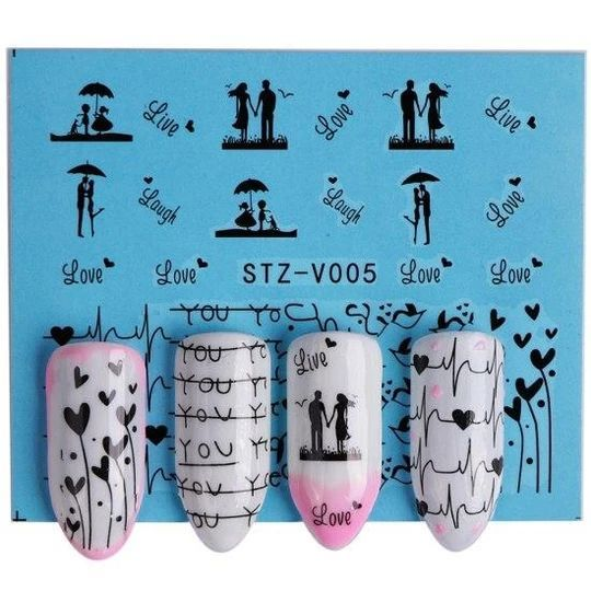 1pcs Water Decals Nail Art Black Rose/Feather/Dandelion Valentine Pattern Manicure Nails Shee…