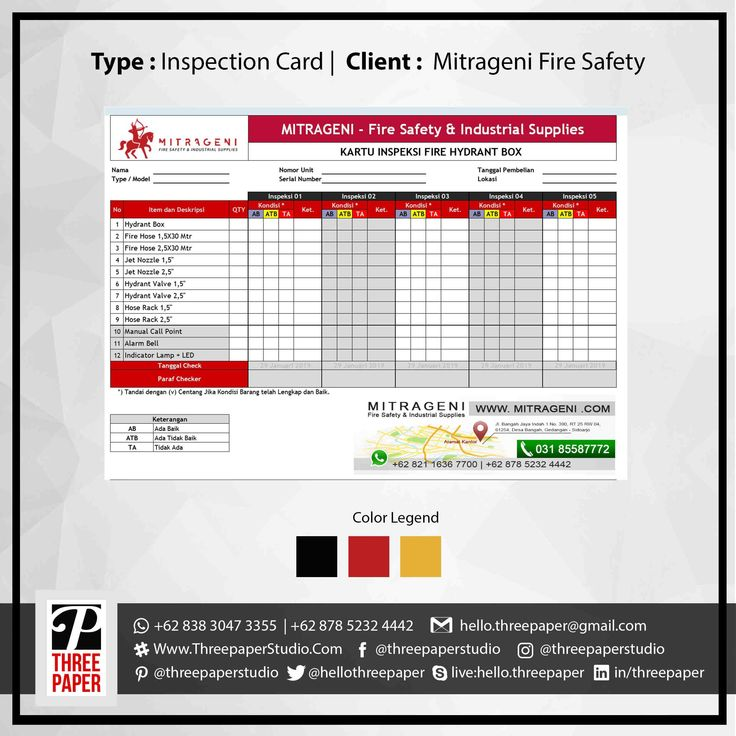 Inspection Cards Client For CV. Mitrageni Fire Safety