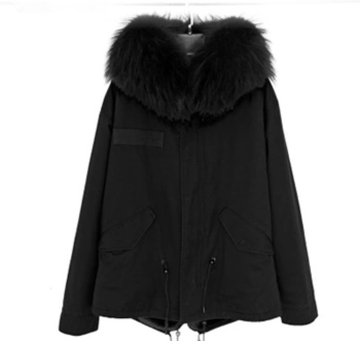 Black parka with Black Raccoon Fur Hood available at LuxHut Fashion