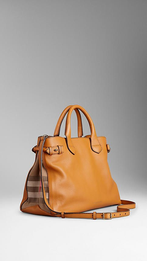 Cognac Sac The Banner medium en cuir à motif House check - Image 1