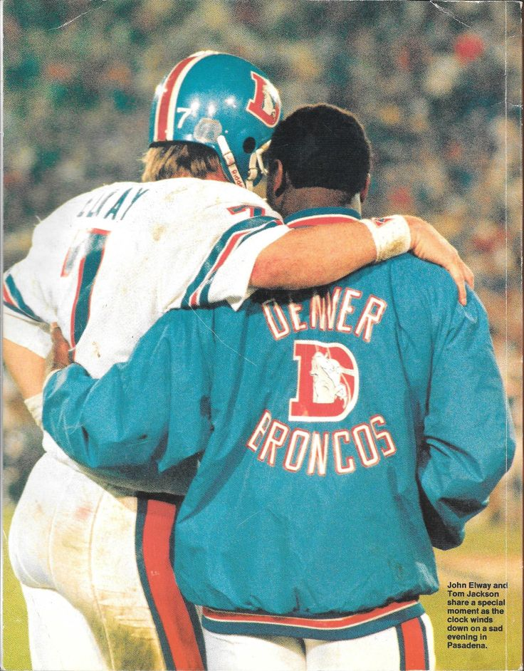 JOHN ELWAY and TOM JACKSON at Super Bowl XXI-January 25, 1987