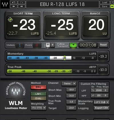 Waves Loudness Meter / For Broadcast, Games, Movie Trailers & Pacaged Media
