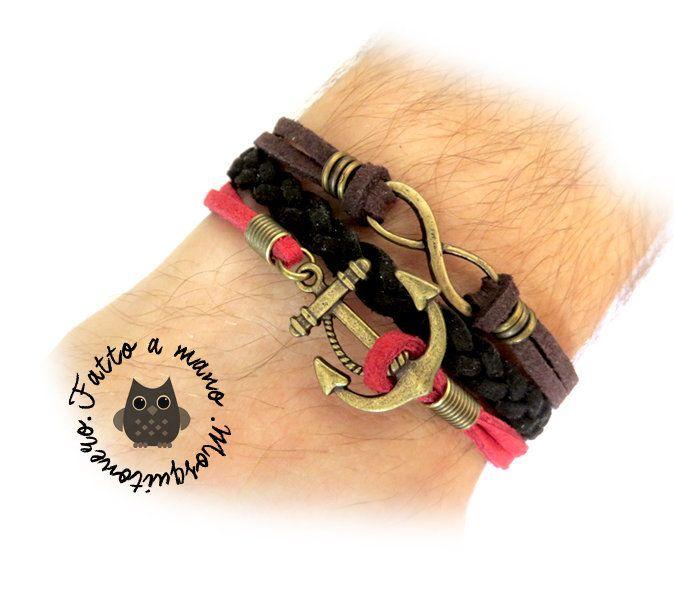 Bracciale uomo Infinito Ancora Treccia nautico pelle braccialetto polsino bronzo, by Mosquitonero Shop, 7,90 € su misshobby.com