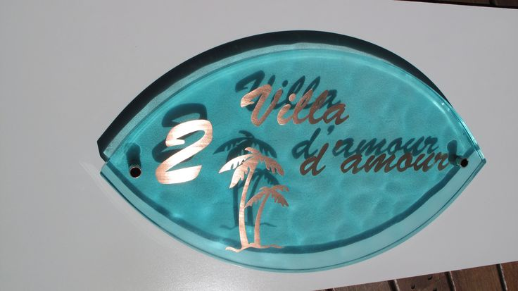 Cast resin and copper house sign