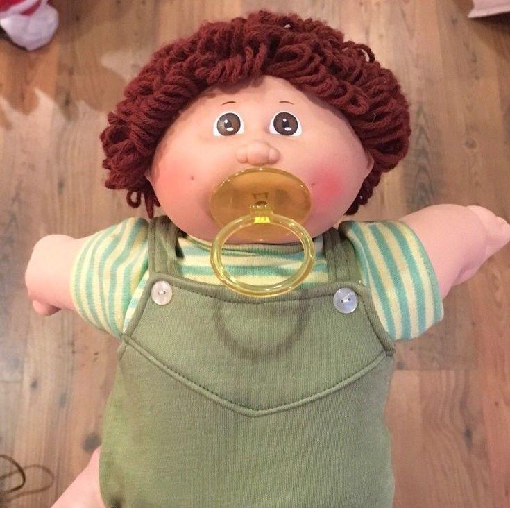 Vintage 1984 Cabbage Patch Kid #4 Paci Boy Doll Coleco Brown Loop Hair