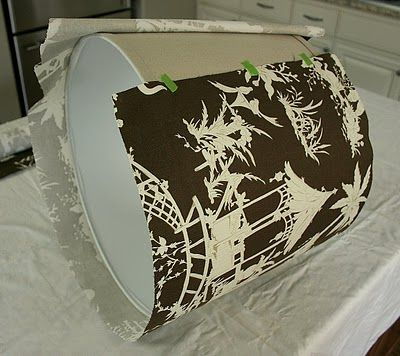 DIY- how to cover lampshades w/ fabric & trim