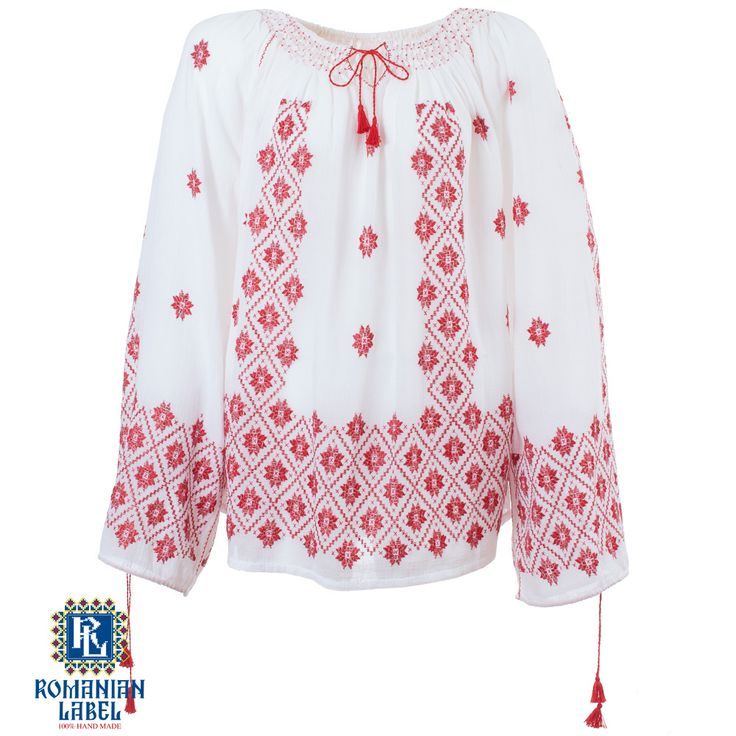 $221.16 A 100% hand made traditional blouse, exclusively tailored out of natural materials, such as white cotton and red silk embroidery.