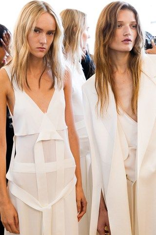 Harleth Kuusik & Olivia Jansing backstage at Calvin Klein Collection SS16, NYFW