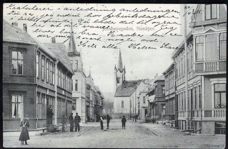 Steinkjer Jernbanegaten stemplet 1905