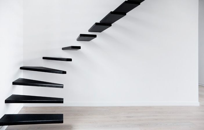 Floating Staircase: Black Stairs, Floating Stairs, Stairca Design, Interiors Design, Dreams House, Modern Stairca, Architecture, Stairways, Floating Staircases