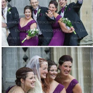 Bridesmaids in plum. Elvish tiaras. Elegant up dos and Cala Lily bouquets. Ushers in longer length jackets, Ivory waistcoats and plum cravats.