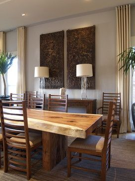 better to go with lighter color like this instead of claro walnut?  Dining Room - contemporary - dining room - atlanta - Joel Kelly Design