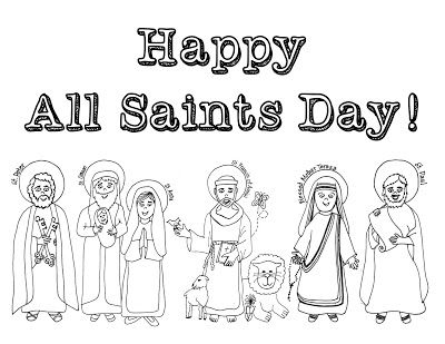 Here's a repost of my 12 favorite activities for Halloween, All Saints Day, and All Souls Day, some of my favorite celebrations of the year! 1. Here's a Happy All Saints Day coloring page: (Click on i
