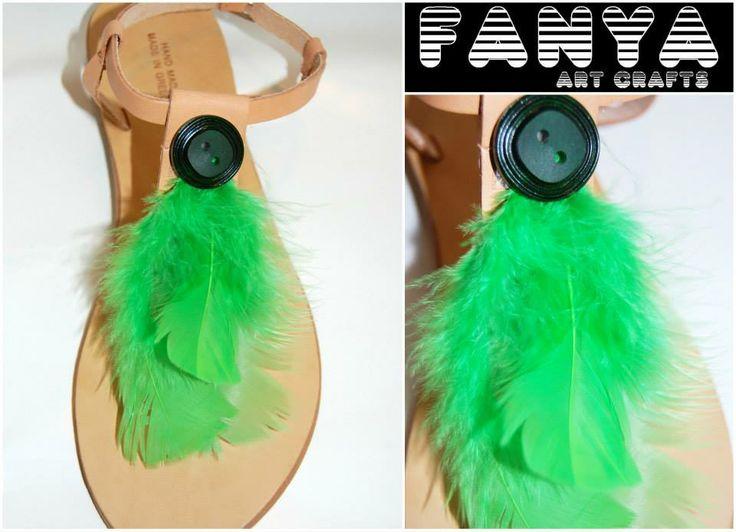 "handmade sandals ""boho green""  #handmade #sandals #fanya"